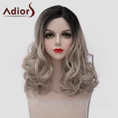 Adiors Black Ombre Ash Blonde Synthetic Fluffy Medium Wave Universal Wig