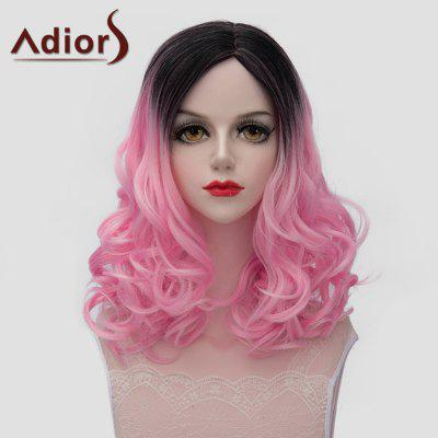 Adiors Lolita Style Medium Fluffy Wavy Vogue Black Pink Gradient Synthetic Wig