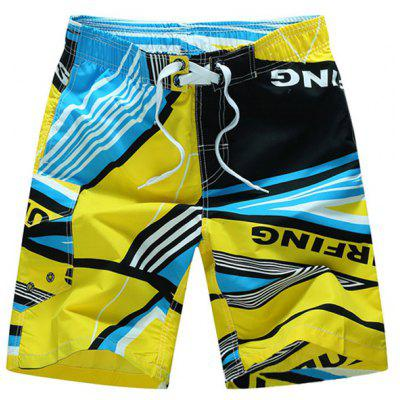 Straight Leg Elastic Waist Color Block Printed Men's Board Shorts