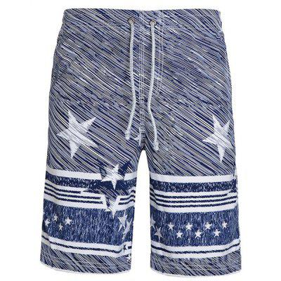 Straight Leg Drawstring Stars Stripes Printing Men's Board Shorts