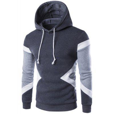 Buy DEEP GRAY Vogue Hooded Color Lump Splicing Long Sleeves Pullover Hoodie For Men for $16.03 in GearBest store