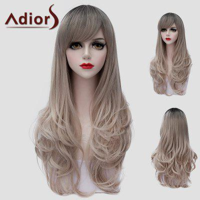 Buy COLORMIX Stylish Long Side Bang Synthetic Shaggy Wave Black Ombre Ash Blonde Universal Wig For Women for $20.70 in GearBest store