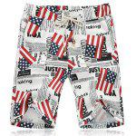 Lace Up Fifth Pants Beach American Flag Shorts - COR MISTURA