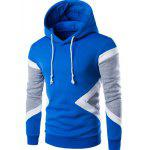 Vogue Hooded Color Lump Splicing Long Sleeves Pullover Hoodie For Men - AZUL