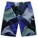 Shorts consiglio Straight Leg coulisse stampa geometrica Flap Patch uomo Pokect - VIOLA