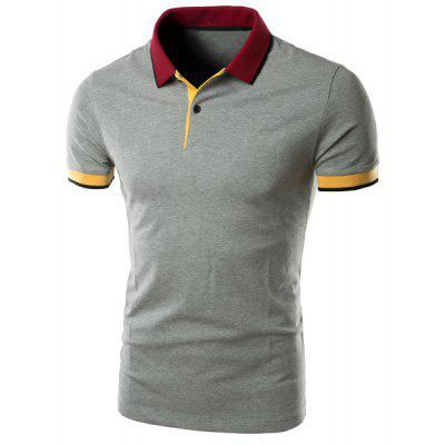 Simple Turn-down Collar Color Block Slimming Short Sleeves Polo T-Shirt For Men