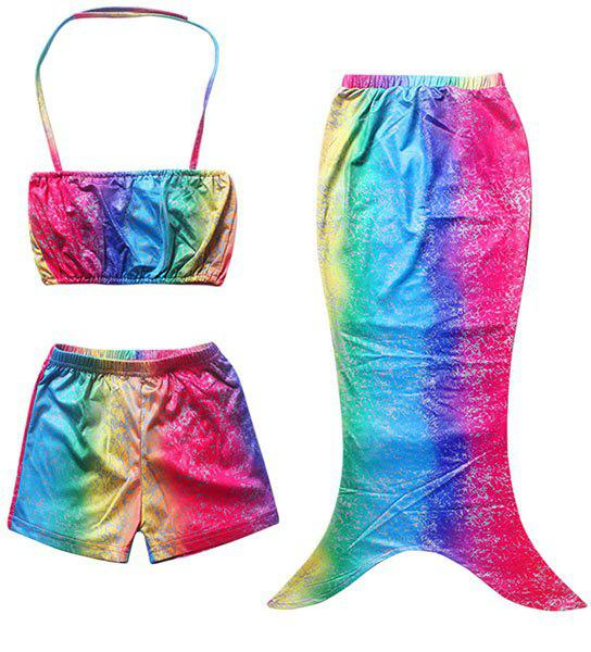 Cute Ombre Mermaid Design Halter Tube Top + Shorts + Cover Up Girl's Swimsuit