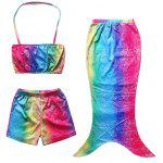 Cute Ombre Mermaid Design Halter Tube Top + Shorts + Cover Up Girl's Swimsuit - MULTICOLORE