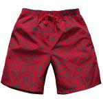 Straight Leg Drawstring Floral Board Shorts - RED