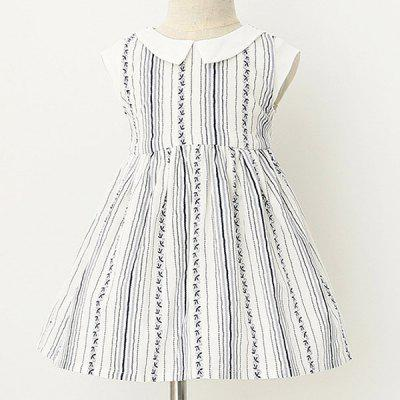 Cute Peter Pan Collar Striped Sleeveless Girl's Dress