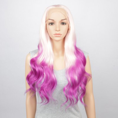 Fashion White Purple Gradient Long Fluffy Wavy Synthetic Lace Front Wig For  Women -  74.04 Free Shipping 9c8ecdb467