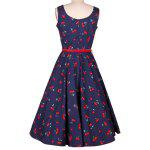 Cherry Print Midi A Line Dress With Belt deal