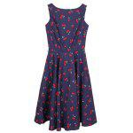 Cherry Print Midi A Line Dress With Belt for sale