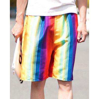 Straight Legs Summer Thin Drawstring Printed Board Shorts For Men