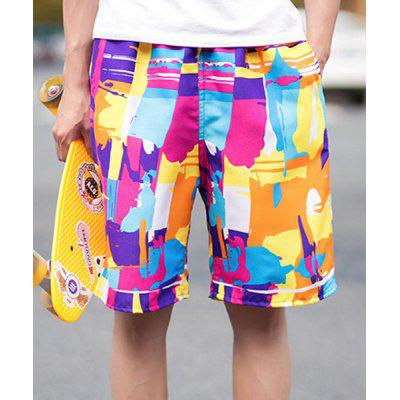 Summer Straight Legs Thin Drawstring Colorful Printed Board Shorts For Men