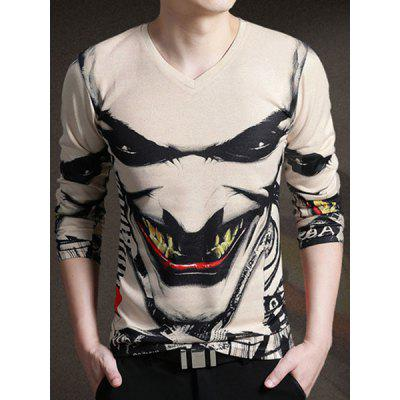 Stylish V-Neck 3D The Joker Face Print Long Sleeve T-Shirt For Men