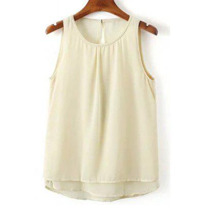 Round Neck Open Back Tank Top For Women
