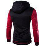 Slim Fit Spliced Hoodie - WINE RED
