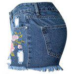 Floral Embroidered Frayed Denim Shorts - DEEP BLUE