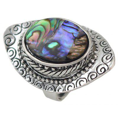 Retro Carving Oval Faux Crystal Ring
