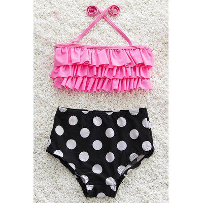 Cute Halter Layered Bra + Polka Dot Briefs Swimsuit
