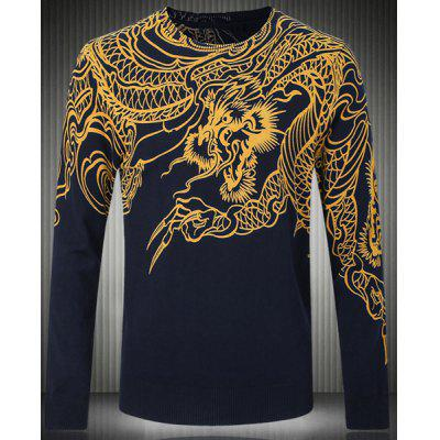 Long Sleeves Pullover Round Collar Dragon Pattern Sweater For Men