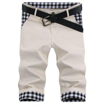 Straight Leg Plaid Stampa Shorts splicing Zipper Fly Uomo