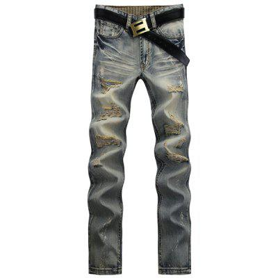 Stylish Straight Leg Bleach Wash Worn-Out Design Zipper Fly Men's Jeans