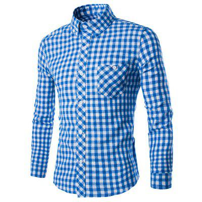Turn-Down Collar Long Sleeve Slimming Checked Button-Down Shirt For Men