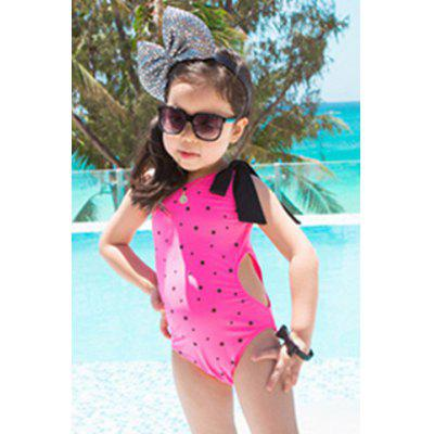 Cute One-Shoulder Polka Dot Print Hollow Out Girl's Swimwear