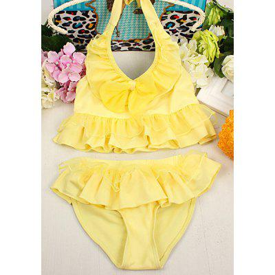 Cute Halter Pure Color Flounced Blouse + Briefs Two-Piece Swimwear