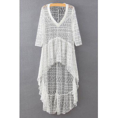 Stylish V-Neck 3/4 Sleeve High-Low Hem Lace Cover Up For Women