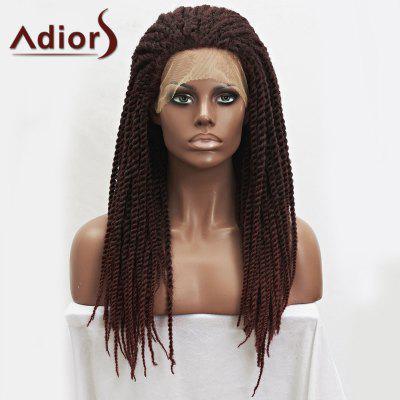 Adiors Dark Auburn Mixed Synthetic Fluffy Long Handmade Braided Lace Front Wig