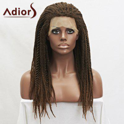 Adiors Long Synthetic Fluffy Handmade Twist Braided Mixed Color Lace Front Wig