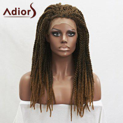 Adiors Vogue Long Synthetic Black Brown Mixed Fluffy Handmade Braided Lace Front Wig
