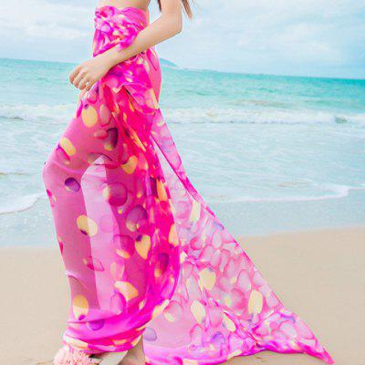 Chic Petals Pattern Chiffon Sarong For Women