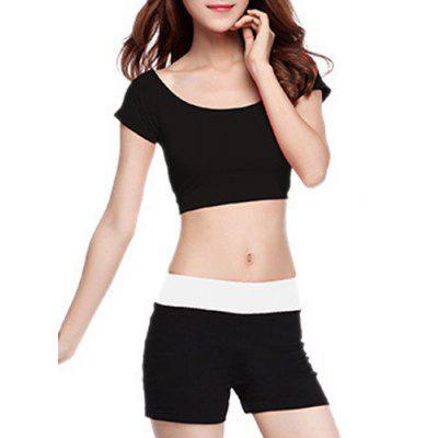 Chic Scoop Neck Short Sleeve Hit Color Women's Yoga Suit