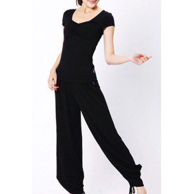 Chic V Neck Short Sleeve Pure Color Two-Piece Women's Yoga Suit