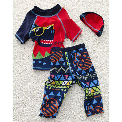 Stylish Cartoon Print Short Sleeve T-Shirt + Pants + Hat Boy's Swimsuit