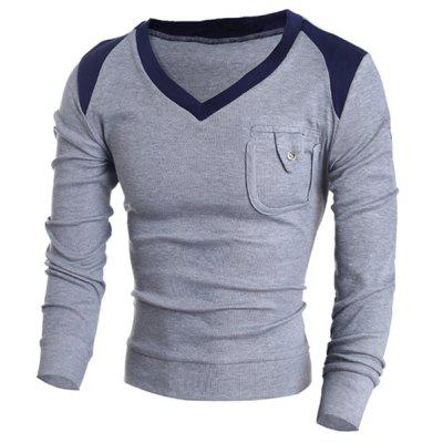 V-Neck Color Block Splicing Pocket Design Long Sleeve Sweater For Men
