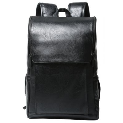 Casual PU Leather and Solid Color Design Backpack For Men