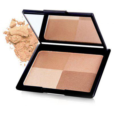 4 Colours Highlight Bright Shadow Pressed Powder Palette with Mirror