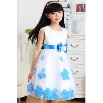 Fashionable Sleeveless Bowknot Design Petal Embellish Dress For Girl
