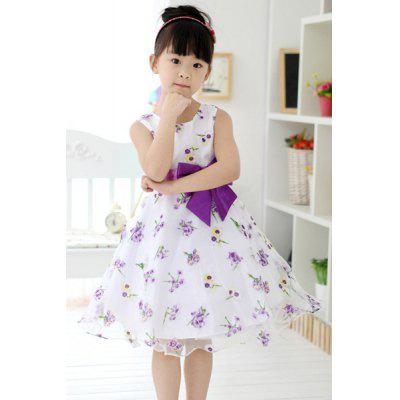 Fashionable Sleeveless Bowknot Design Floral Pattern Dress For Girl