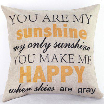 Simple Letters Pattern Printed Linen Cotton Pillow Case(Without Pillow Inner)