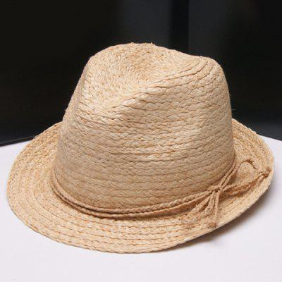 Fashionable Solid Color Bowknot Straw Rope Embellished Straw Hat For Women