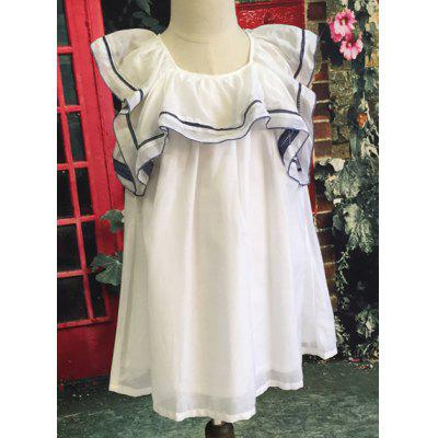 Stylish Sleeveless White Flounced Dress For Girl
