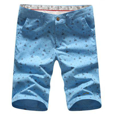 Vogue Straight Leg Anchor Print Slimming Zipper Fly Shorts For Men