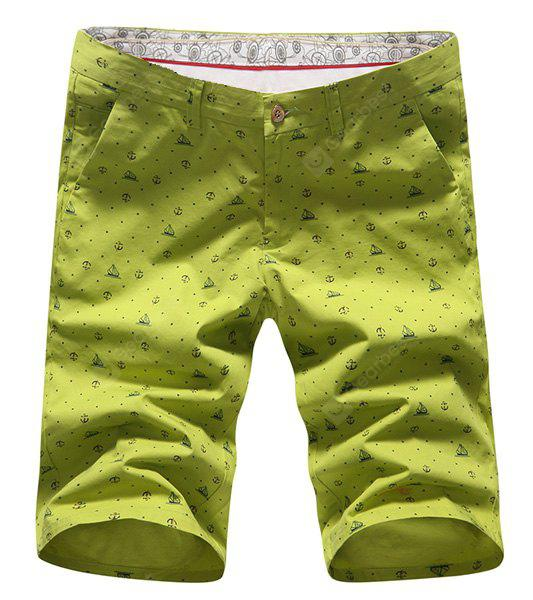 Vogue Straight Leg Anchor Print Slimming Zipper Fly Shorts Men 34 GREEN