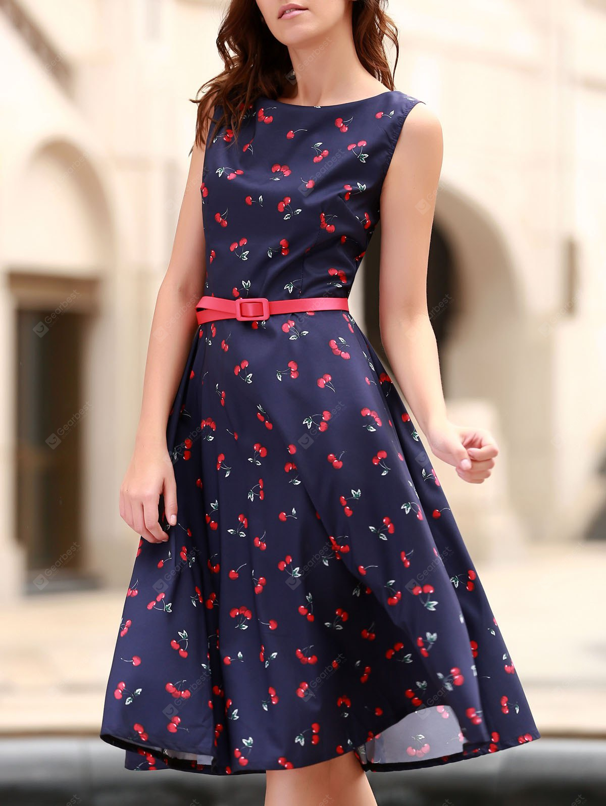 Vintage Jewel collo maniche Cherry Dress Stampa Flare per le donne
